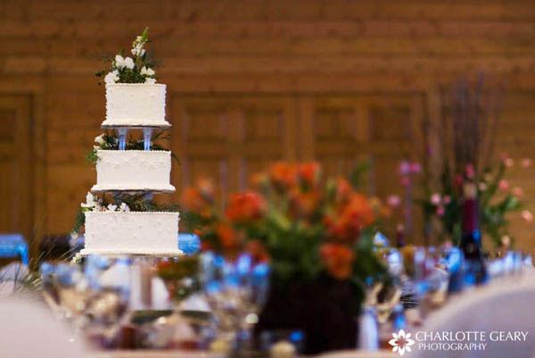 Square white wedding cake