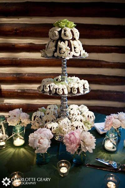 Tower of mini chocolate bundt cakes