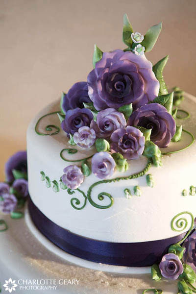 Purple sugar flower cake topper