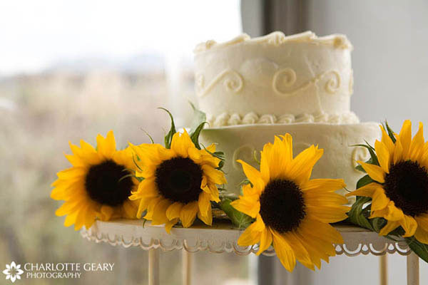 Wedding cake decorated with sunflowers