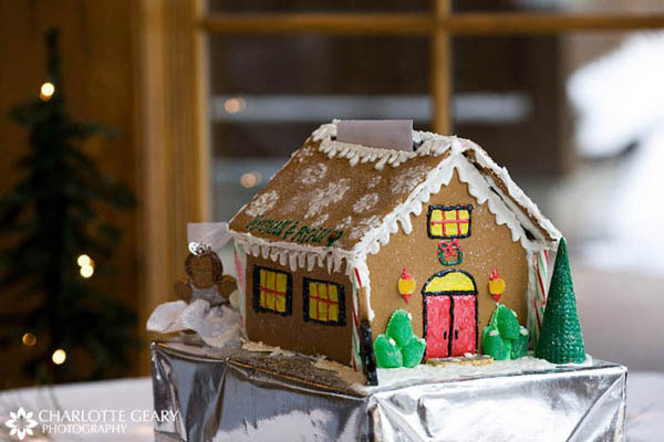 Gingerbread house card box for Christmas wedding