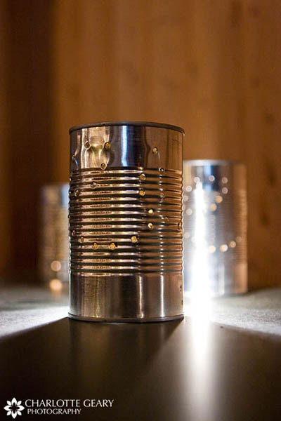 Candle holders made of aluminum cans for a country wedding