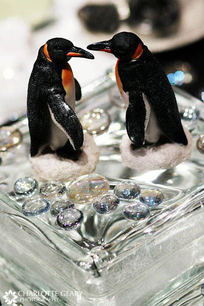 Centerpiece for a penguin-themed wedding