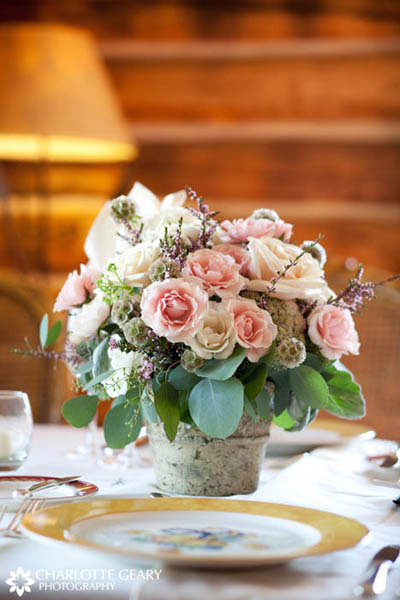 Pink rose centerpiece