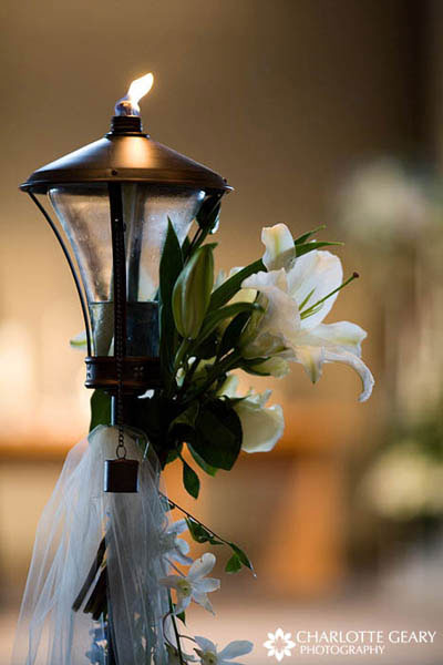 Gas lantern with white lilies