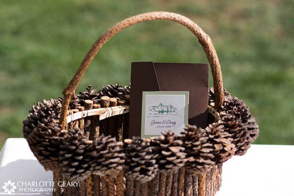 Wedding program in pine cone basket