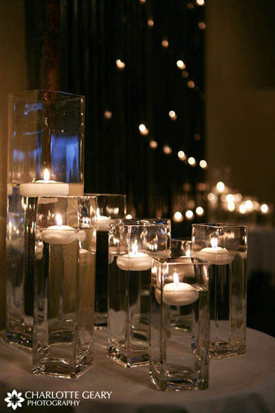 Arrangement of floating candles for candlelit ceremony