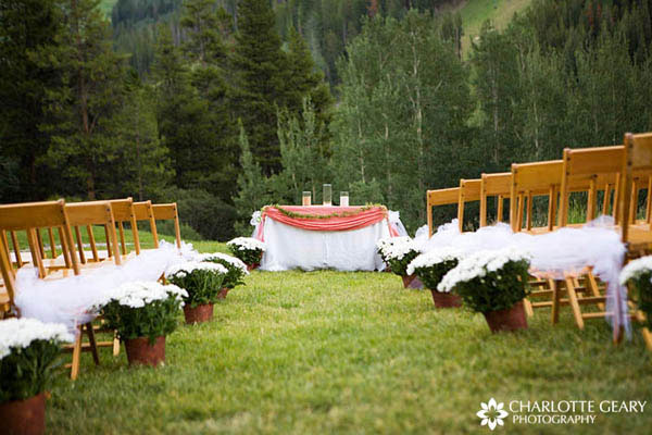 Ceremony aisle lined with potted flowers