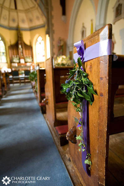 Purple and green ceremony decorations