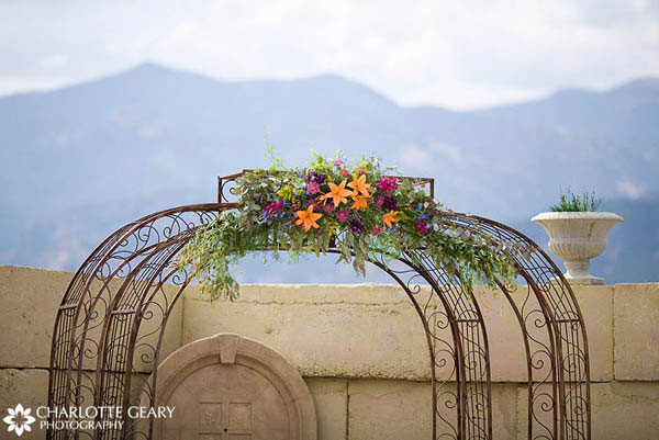 Ceremony arch decorated with autumn flowers