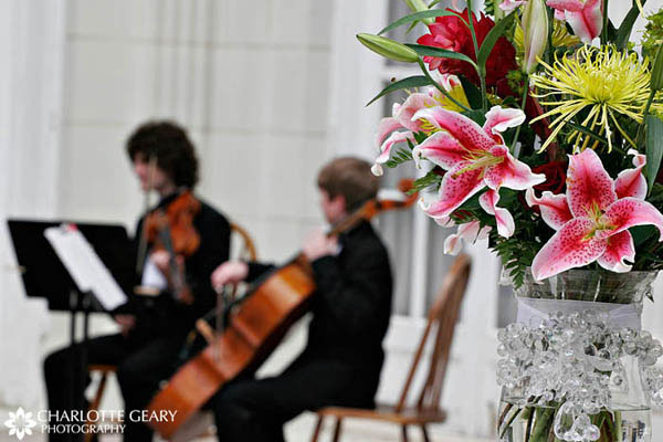 Pink lily flower arrangement for wedding ceremony