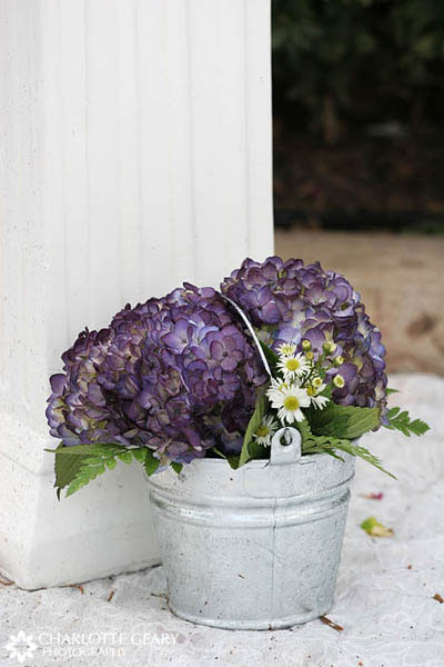 Purple hydrangeas in a silver bucket