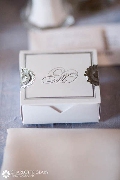 Silver and white monogrammed wedding favor box