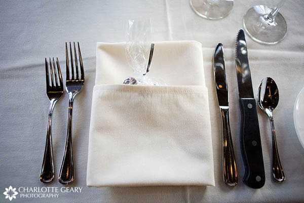 Chocolate wedding favor tucked inside napkin