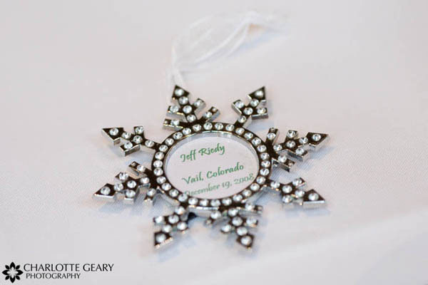 Christmas ornament used as place card and wedding favor