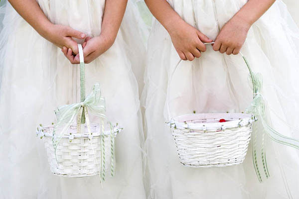Flower girls with white baskets