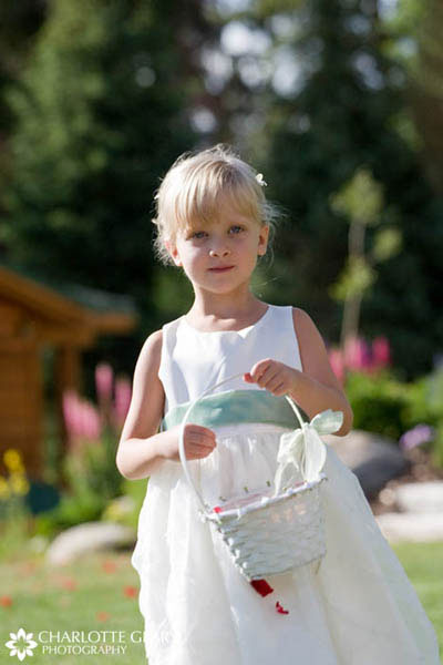 Flower girl with light green sash