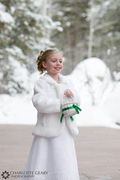 Flower girl with white coat