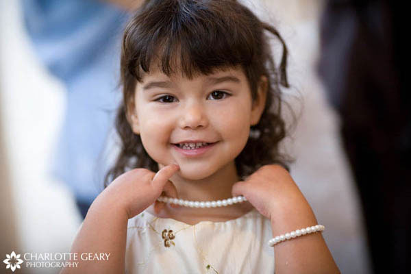 Flower girl with pearl necklace and bracelet