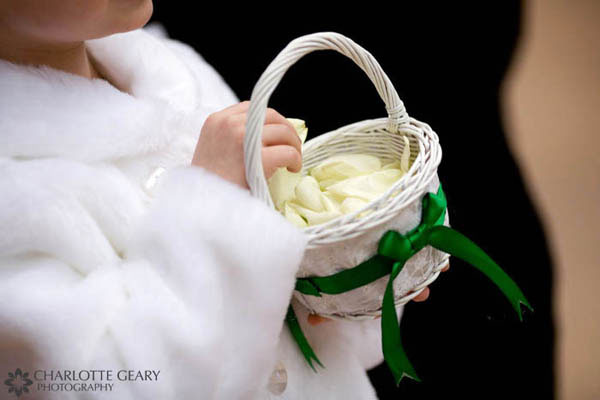 Flower girl basket with green ribbon