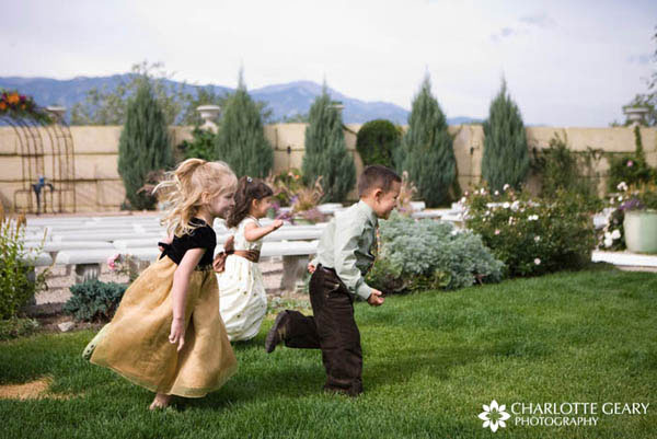 Flower girls and ring bearer in brown
