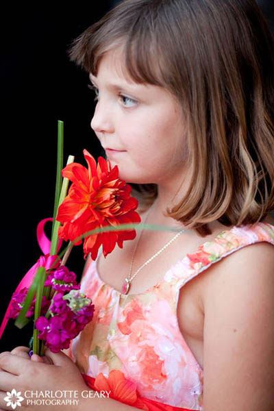 Flower girl with orange dress