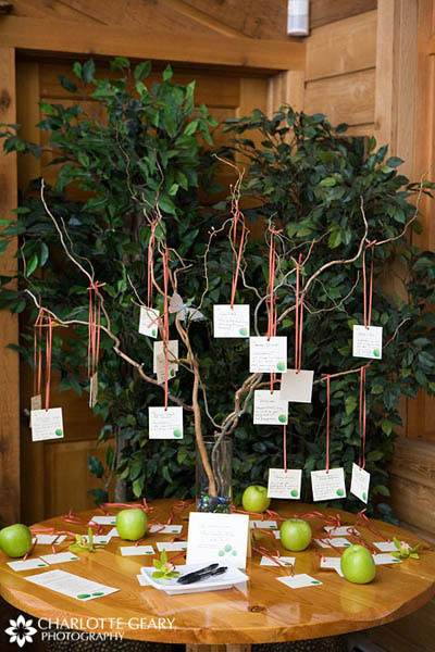 Notes from wedding guests hung on a curly willow tree