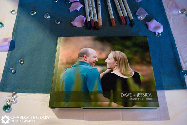 Wedding guestbook filled with the couple