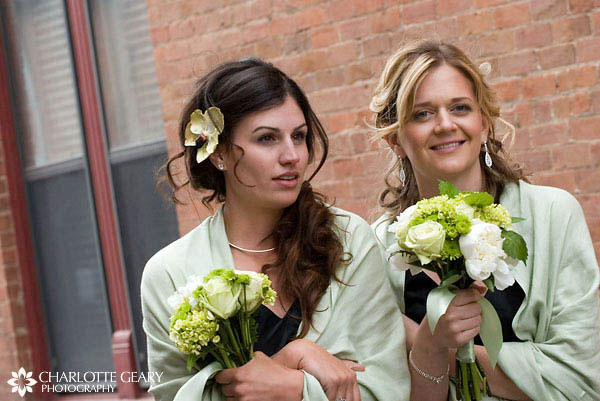 Bridesmaids with half-up hairstyles