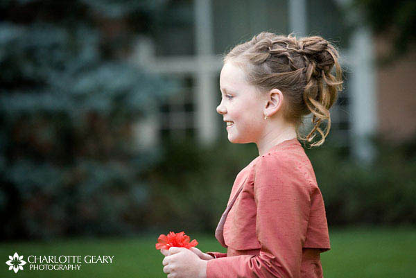 Flower girl with up-do hairstyle