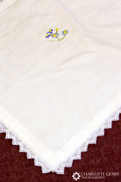 Heirloom handkerchief carried by bride