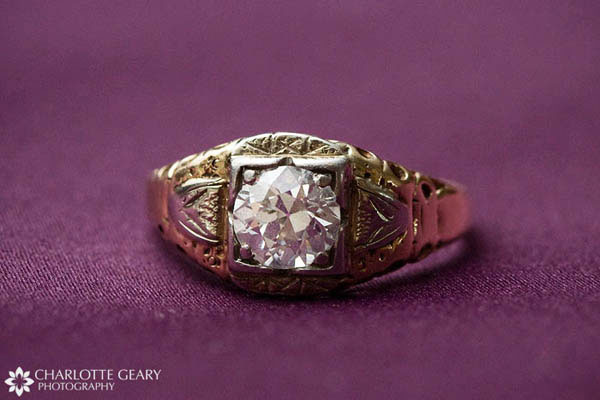 Heirloom ring worn by bride