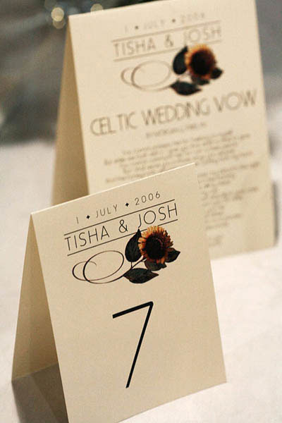 Table number cards with sunflower illustrations