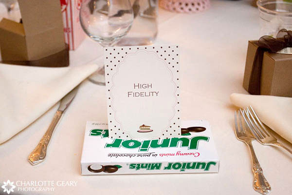 Table number displayed in movie candy, for a movie-themed wedding