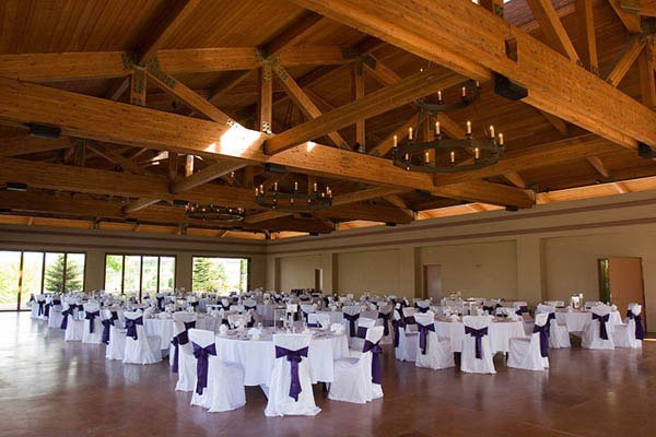 Reception room decorated with purple and white chair covers