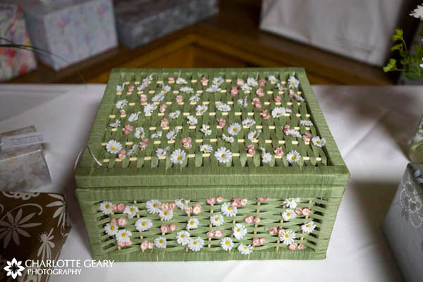 Green basket used as a wedding card box