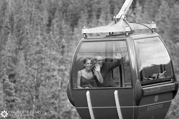 Bride and groom leaving by gondola