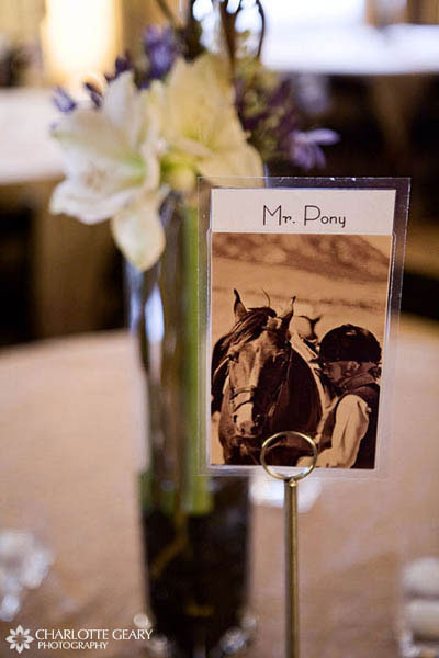 Wedding tables named after animals that the bride and groom have loved through the years