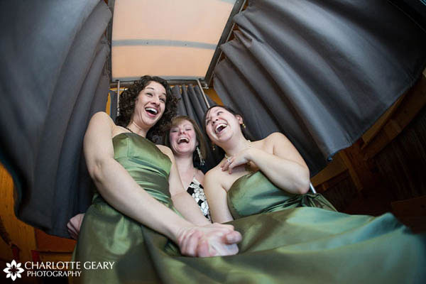 Bridesmaids in a photo booth