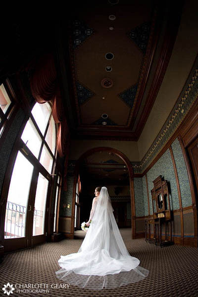 Bride with cathedral-length veil