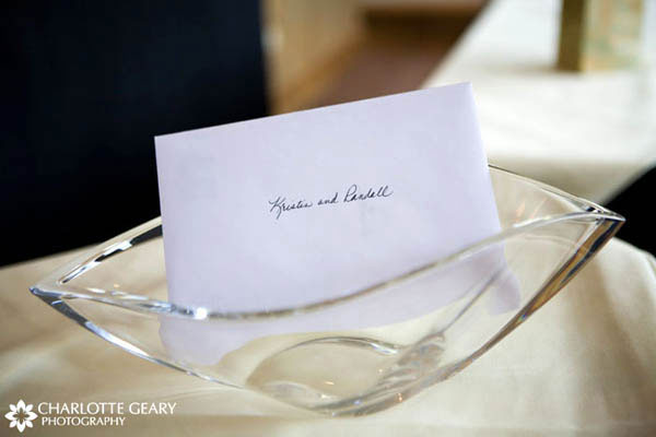 Wedding cards in a glass bowl
