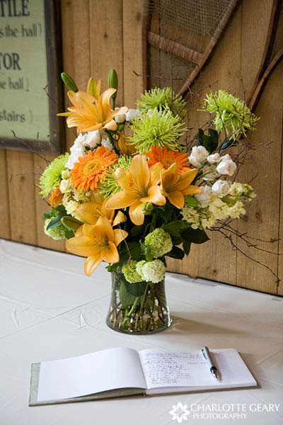 Yellow centerpiece with lilies