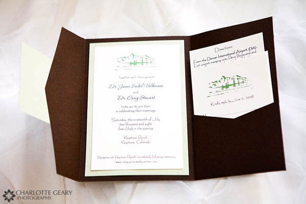 Brown and green wedding invit