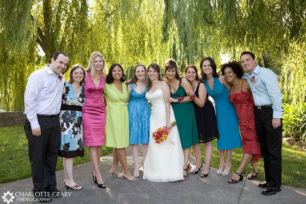 Bridesmaids in dresses of their own choosing