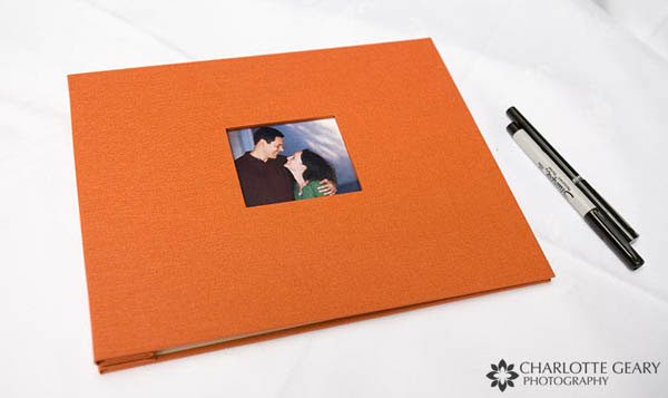 Orange wedding guest book