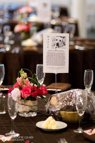 Tables named after pets of the bride and groom