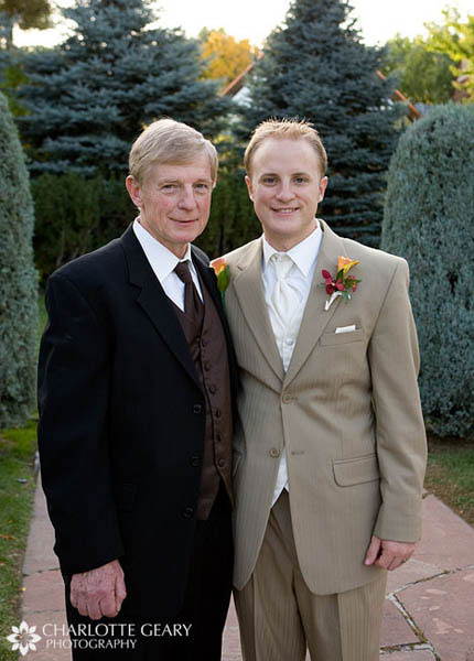 Groom and his father in brown suits