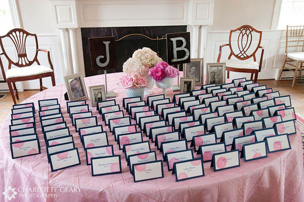 Pink and blue wedding escort cards