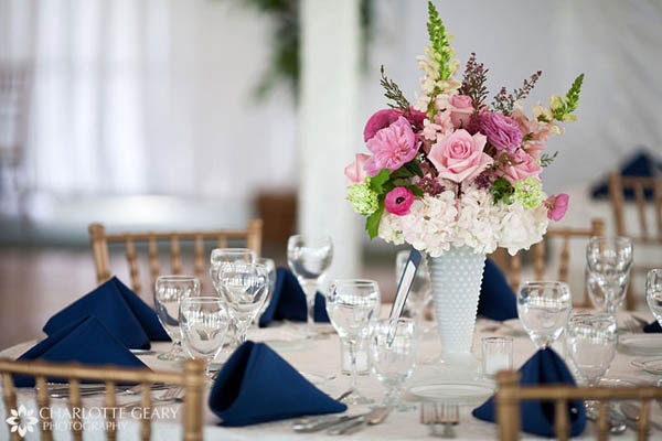 Pink and blue wedding reception table