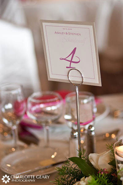 Champagne and pink table number